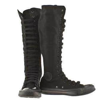 vegan converse all black monochrome knee high boots
