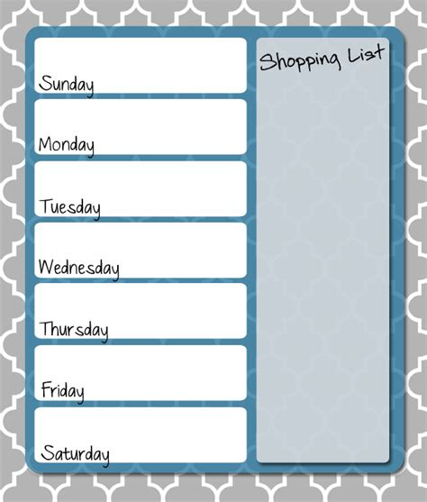 free printable weekly menu planner models picture