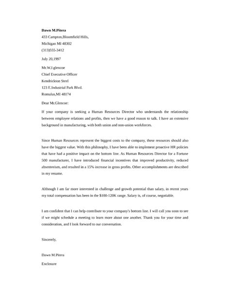 application letter human resource manager letter sle
