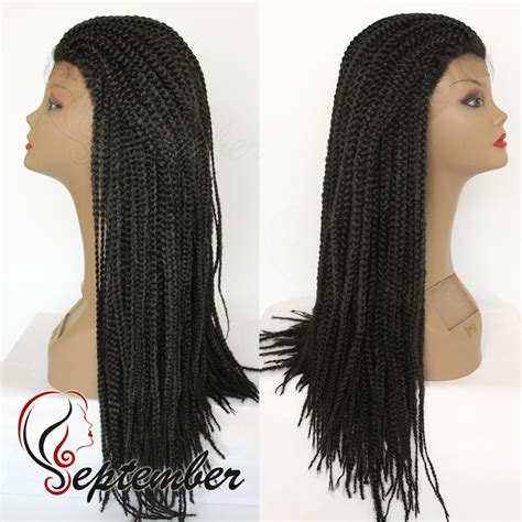 full braided wigs for black women box braided synthetic lace front wig glueless full