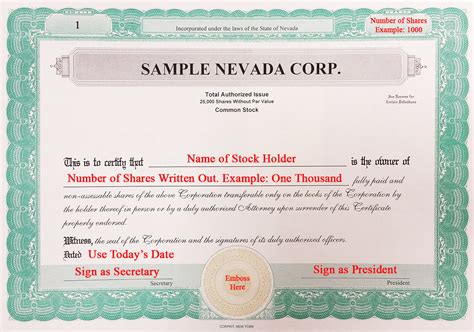 free corporation stock certificate template for you to fill in and