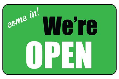 Open Closed Sign Template by Printable We Re Open Sign Business Sign Free