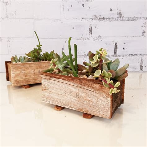 Handmade Planters - handmade reclaimed wood succulent planter box small planter