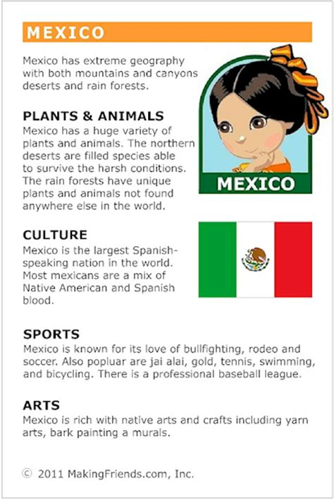 fact card template facts about mexico makingfriendsmakingfriends