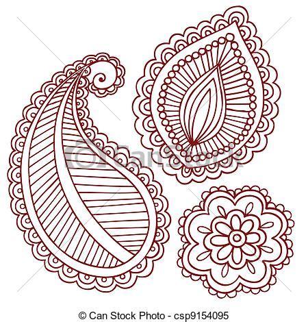 clipart vector of henna mehndi tattoo doodles vector
