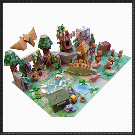 Papercraft World - dino mini world diorama free papercraft