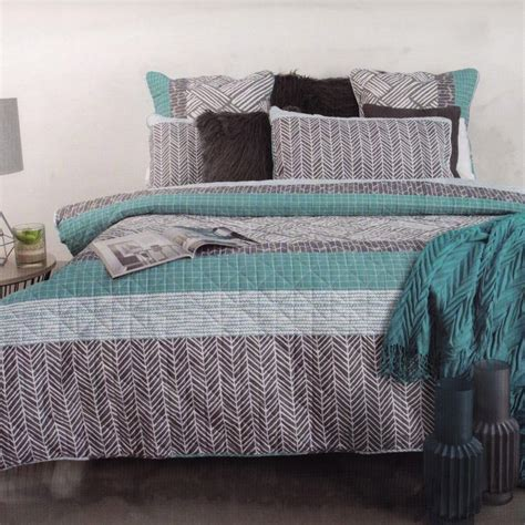 Aqua Quilt King by Balder White Grey Aqua Quilted King Quilt