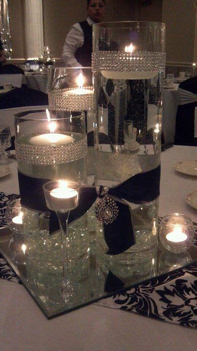 candles, crystals, rhinestones,satin, cylinder vases add