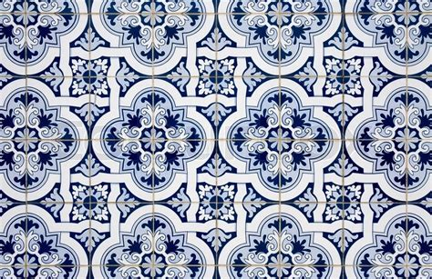 Blue pattern detail of Portuguese glazed ceramic tiles