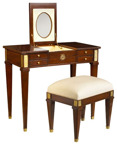 Heritage Cherry Vanity by Heritage Aubin Vanity And Stool Antique Cherry Traditional Dressing Tables