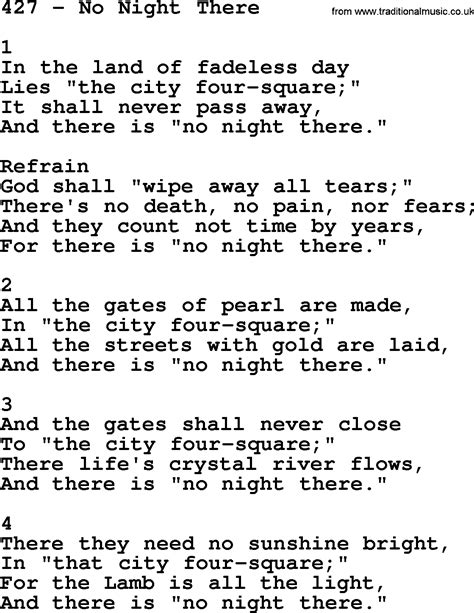 Adventist Hymnal, Song: 427-No Night There, with Lyrics
