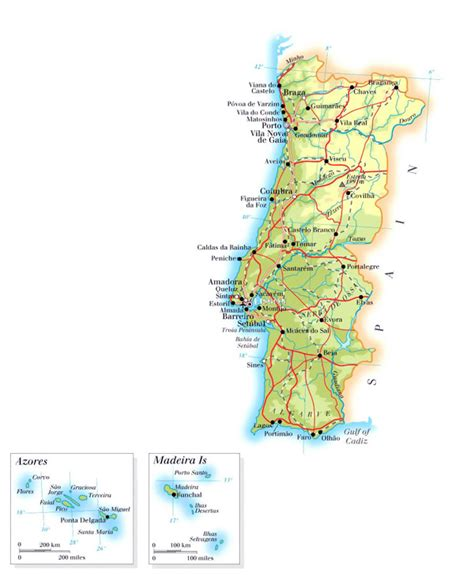 printable road map of portugal large elevation map of portugal with roads cities and