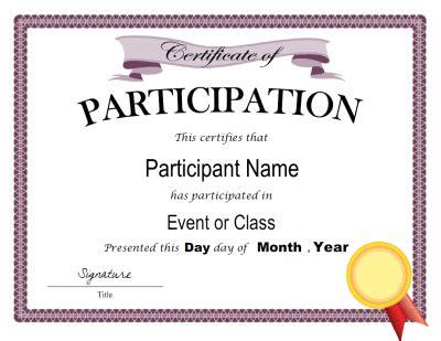 free templates for certificates of participation certificate of participation template