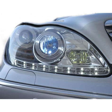 Drl Mercy S Class W220 mercedes w220 s class 00 06 drl led projector headlights chrome with