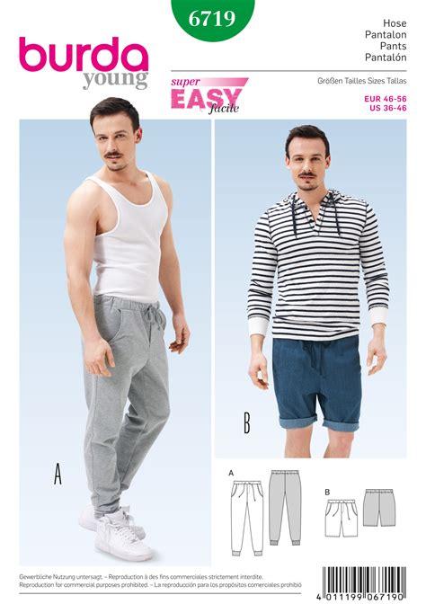 cool pattern joggers burda 6719 men s jogging pants burda sewing patterns