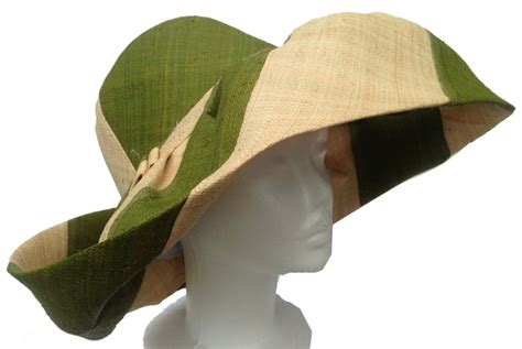 How To Make A Sun Hat Out Of Paper - olive green and striped raffia sun hat that way