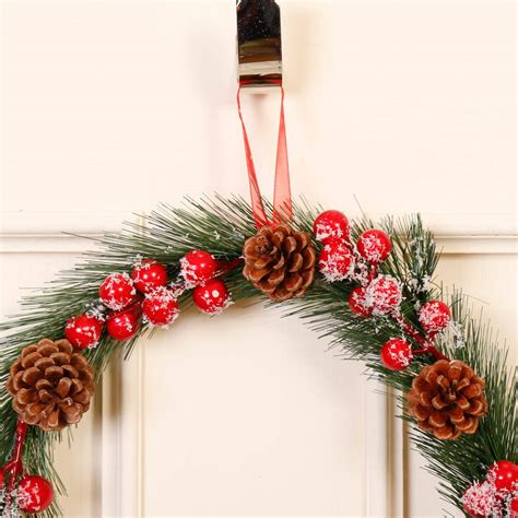 country christmas pine cone  berries hanging wreath