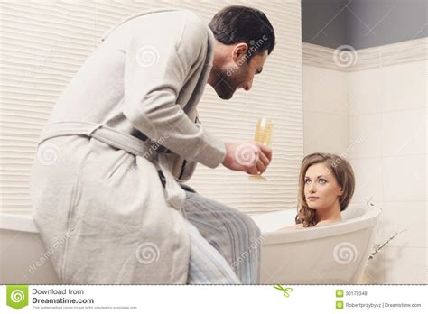 couples in bathroom young couple in the bathroom royalty free stock photos