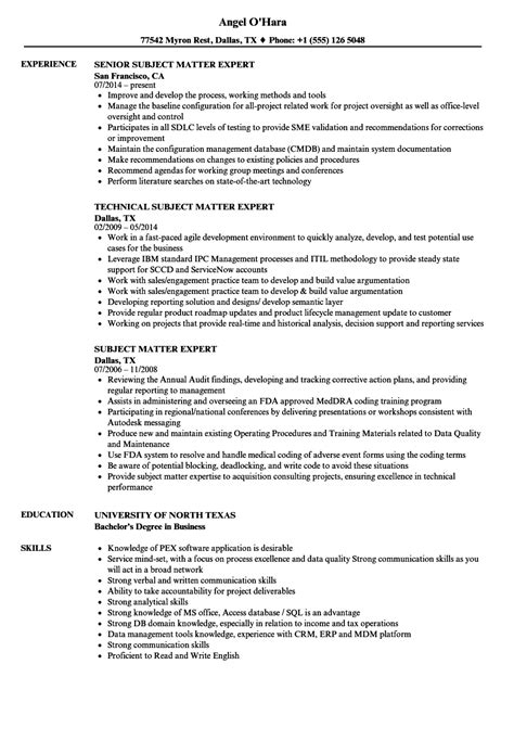 subject matter expert resume sles 28 images subject