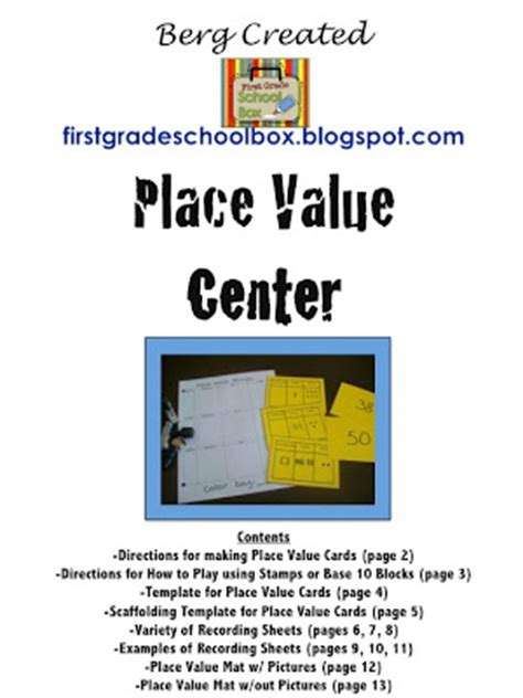 Place Value Cards Template by Grade School Box Place Value Center Printables