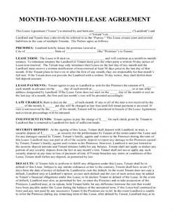 8 sle month to month rental agreement forms sle