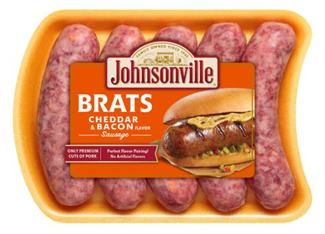 brats sausage cheddar cheese and bacon sausage johnsonville