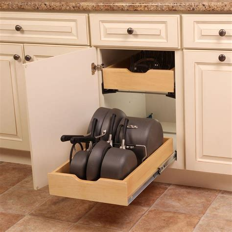 kitchen cabinet racks real solutions for real 7 5 in x 15 3 in x 12 in pot and pan cabinet organizer pnpkit r