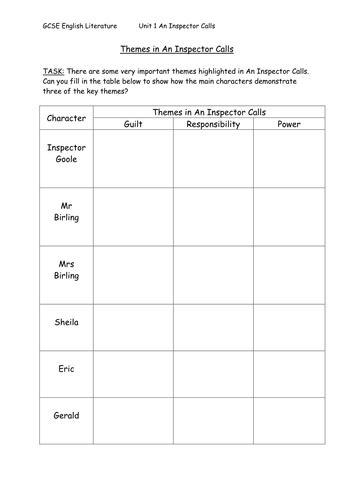 an inspector calls themes worksheet an inspector calls theme table task by sazo123