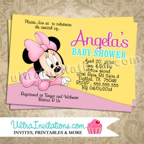 Minnie Mouse Baby Shower Invites by Minnie Mouse Invites Baby Shower Diy Digital Or Prints