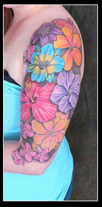 colored flower tattoos flower color arm plurabella