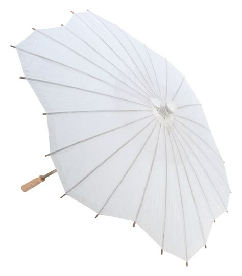 Paper Umbrella - 32 quot white scallop shaped paper parasol umbrellas on sale