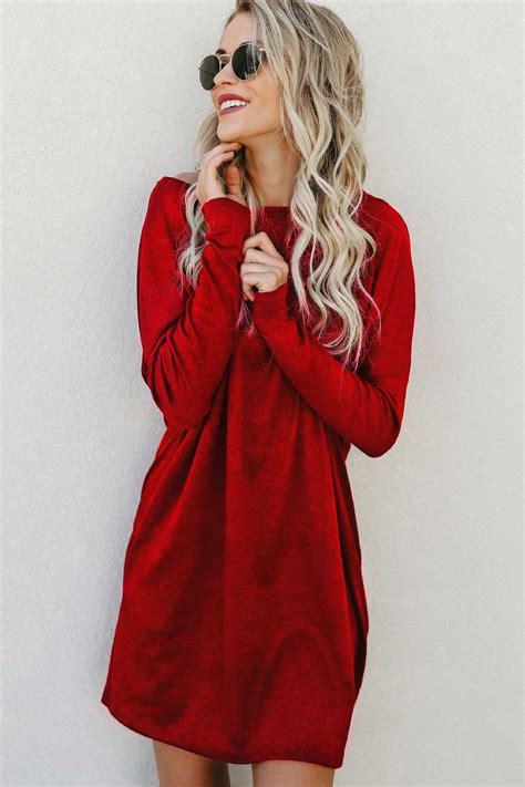 dark red boat neck dress dark red burgundy boat neck pockets long sleeve casual