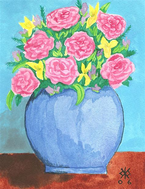 Blue Vase With Flowers by Blue Vase With Flowers Painting By Kathryn Pinkham