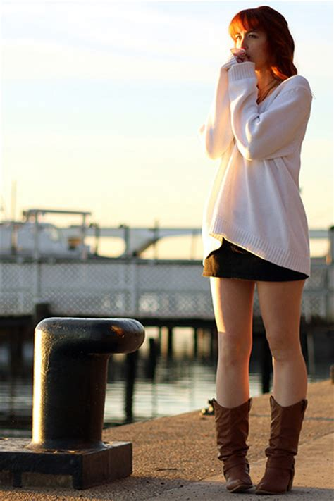 brown boots white oversized sweaters black skirts quot we
