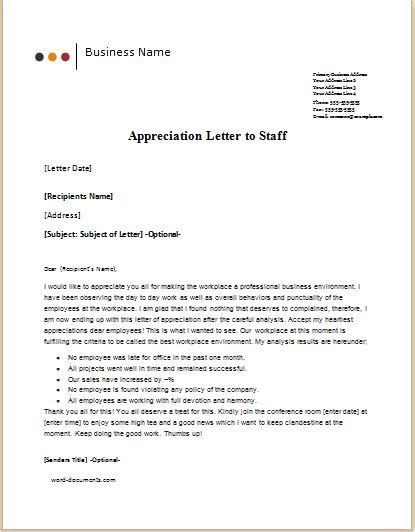 appreciation letter to the staff 6 appreciation letter templates for ms word document
