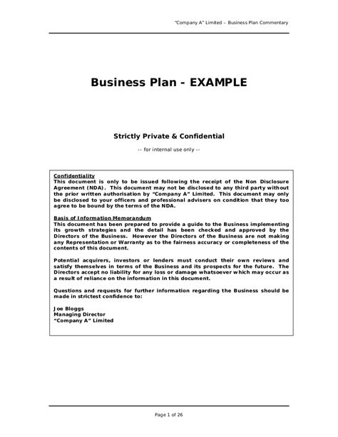 Business Plan Sle Great Exle For Anyone Writing A Business Pl Buisness Plan Template