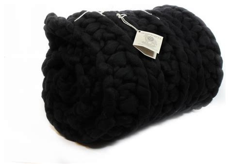 black knitted throw black chunky knit throw traditional throws by modern