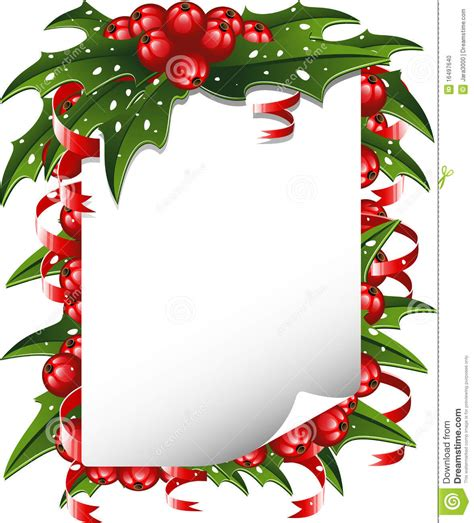 kerst layout word christmas background paper decorated with holly stock