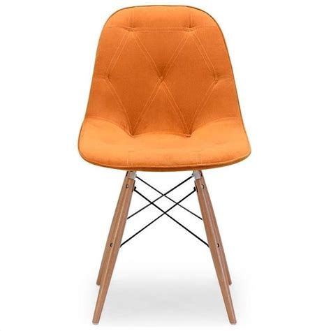 zuo probability dining chair in orange velour 104158