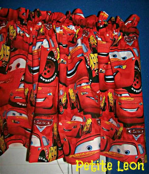 disney pixar cars curtains items similar to new disney pixar red cars window valance