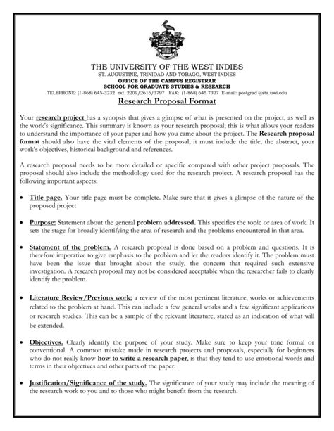 Research Proposal Format - UWI St. Augustine