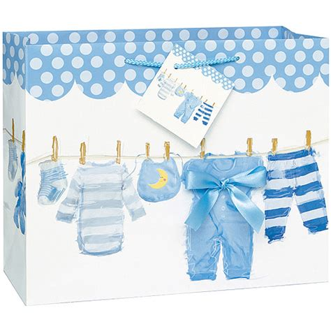 large blue clothesline baby shower gift bag walmart