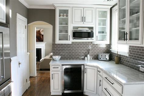 white and gray kitchen gray glass subway tile backsplash design ideas