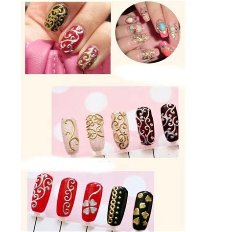 Gold Nail Sticker Decorations 108pcs gold silver 3d nail stickers nail decoration design brand foils stickers for