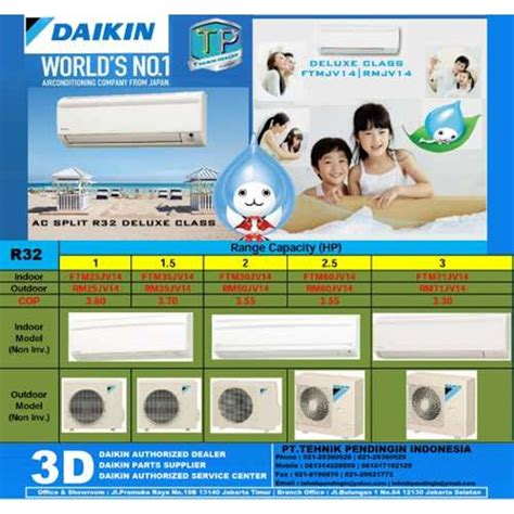 Ac Sharp 1 2pk Freon R32 jual harga ac daikin split wall mounted deluxe class