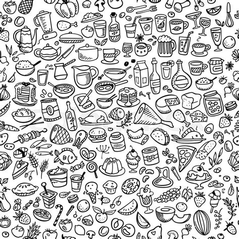 will doodle for food doodle food icons seamless background stock vector