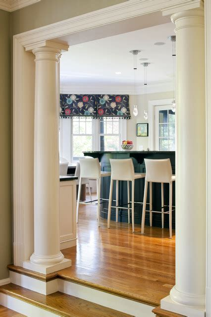 Distressed Dining Room Chairs Shingle Style Kitchen Columns