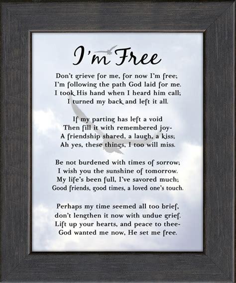 comfort im i m free condolence poem photo framed gift for memorial