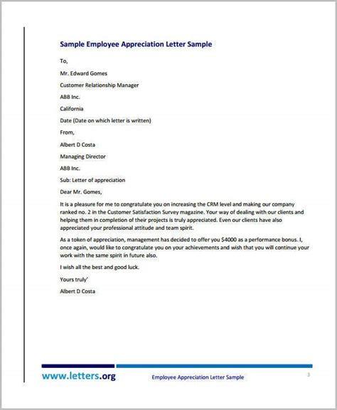 appreciation letter templates employee