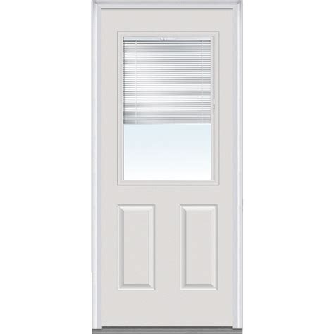 2 4 Exterior Door Doorbuild Mini Blinds Collection Fiberglass Smooth Entry Door Brilliant White 32